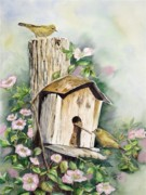 Yellow Warbler Framed Prints - Birdhouse Buddies Framed Print by Patricia Pushaw