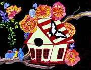 On A Branch Paintings - Birdhouse Home by Connie Valasco