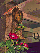 Good Luck Digital Art Posters - Birdhouse Morning Glories Two Poster by Joyce Dickens