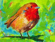 Forest Bird Paintings - Birdie Bird - Robin by Patricia Awapara