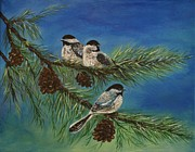 Pine Cones Paintings - Birdie Paradise by Leslie Allen