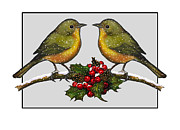 Snowflakes Drawings Posters - Birdies At Christmas Time Poster by Joyce Geleynse