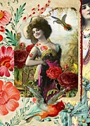Burlesque Digital Art Metal Prints - Birdies Tattoo Metal Print by Laura Botsford