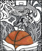 Steve Weber Drawings Framed Prints - Birdland Basketball Framed Print by Steve Weber