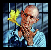 Canary Paintings - Birdman of Alcatraz detail by John Lautermilch