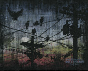 Grungy Paintings - Birds 2 by Arleana Holtzmann