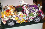 Car Sculptures - Birds and Flower Car by Emily Jurs Sparks