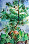 Bird Drawings Originals - Birds and Pine Cones by Mindy Newman