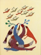 Gond Pardhan Paintings - Birds Ds 174 by Dilip Shyam