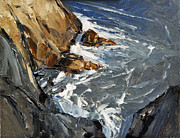 Rocky Coast Paintings - Birds Eye View 16x20 by David Simons