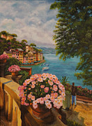 Portofino Italy Painting Posters - Birds Eye View of Portofino Poster by Charlotte Blanchard