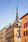Spire Art - Birds Flying Over Church In Villefranche Sur Saone by Copyrights by Sigfrid López