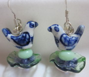 Blue Flowers Jewelry - Birds in a Flower Nest Earrings by Janet  Telander