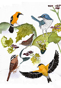 White Tapestries - Textiles Prints - BIRDS IN MY BACKYARD Second in the Series Print by Alexandra  Sanders