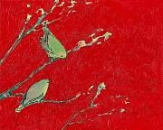 Abstract Wildlife Painting Prints - Birds in Red Print by Jennifer Lommers