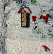 Haze Painting Prints - Birds in Snow Print by Angela Annas