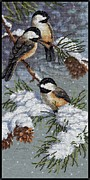 Hand Crafted Art - Birds in Winter by J McCombie