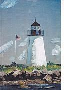Cape Cod Lighthouse Paintings - Birds Island Buzzards Bay by David Poyant