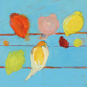 Children Mixed Media Posters - Birds Poster by Laurie Breen