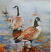 Canadian Geese Paintings - Birds of a Feather by Carol DeMumbrum