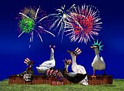 Fireworks Mixed Media Metal Prints - Birds of a Feather Celebrate Freedom Metal Print by Gravityx Designs