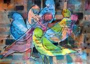 Mixed Media Drawings Prints - Birds of a Feather Print by Mindy Newman