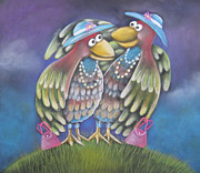 Humorous Pastels Posters - Birds of a feather stick together Poster by Caroline Peacock