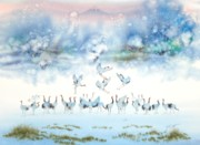 Crane Painting Originals - Birds Of Happiness by John Yato