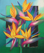 Silk Painting Originals - Birds of Paradise by Maria Rova