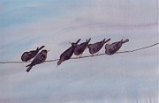 Wind Tapestries - Textiles Framed Prints - Birds on a Wire Framed Print by Carolyn Doe