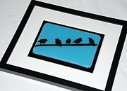 Crow Glass Art - Birds on a Wire by Judy Macauley