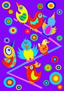 Illustrative Digital Art Prints - Birds on Wire Print by Lynnda Rakos