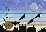 Silhouettes Pastels Prints - Birds on Wires Print by Sally Appleby