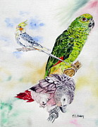 Green Parrot Prints - Birds Past and Present Print by Maria Barry