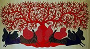 Gond Paintings - Birds Rsu 53 by Ram Singh Urevti