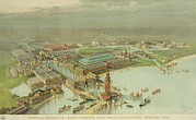 Columbian Exposition Posters - Birdseye View. Worlds Columbian Poster by Everett