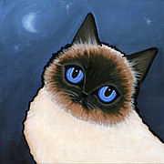 Moonlight Posters - Birman Blue Night Poster by Leanne Wilkes