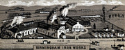 1880s Framed Prints - Birmingham Iron Works. Birmingham Framed Print by Everett