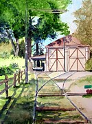 Trolley Paintings - Birney Trolley Barn by Tom Riggs