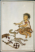 Espana Posters - Birth If Huitzilopochtli, 16th Century Poster by Photo Researchers