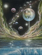 Cosmology Painting Prints - Birth of a universe Print by Sam Del Russi