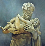 Greek Sculpture Painting Prints - Birth of Bacchus Print by Geraldine Arata