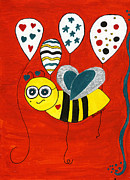 Balloons Mixed Media Originals - Birthday Bea Bee by Christy Woodland
