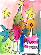 Cake Designs Acrylic Prints - Birthday Bird Acrylic Print by Michelle Malachowski Age Seven