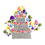 Pink Blossoms Drawings Posters - Birthday Cake With Flowers And Words Poster by Darlene Flood