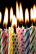 Lit Acrylic Prints - Birthday candles Acrylic Print by Garry Gay
