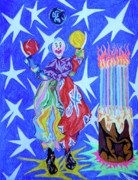 Fun Pastels Posters - Birthday Clown Poster by Robert  SORENSEN