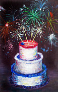 4th July Painting Metal Prints - Birthday in America Metal Print by Ann Marie Napoli