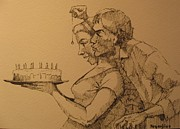 Couple Drawings - Birthday surprise by Ray Agius