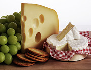 Biscuits, Grapes And Continental Cheeses Print by Simon Battensby